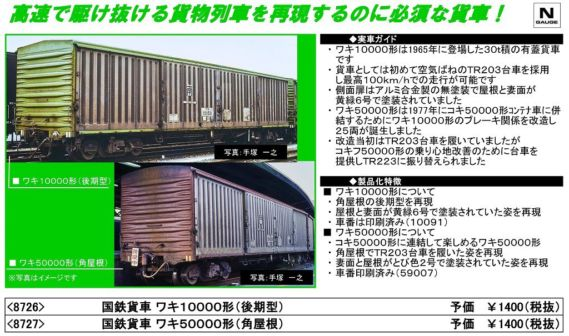 【TOMIX】8727 国鉄貨車 ワキ50000形(角屋根)カタログ